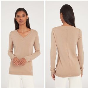 Cuyana Wool Cashmere Slim V-Neck Sweater Small